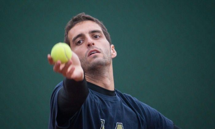 Albert Ramos entrenant a l'Escola Tennis Mataró. Foto: D. F.