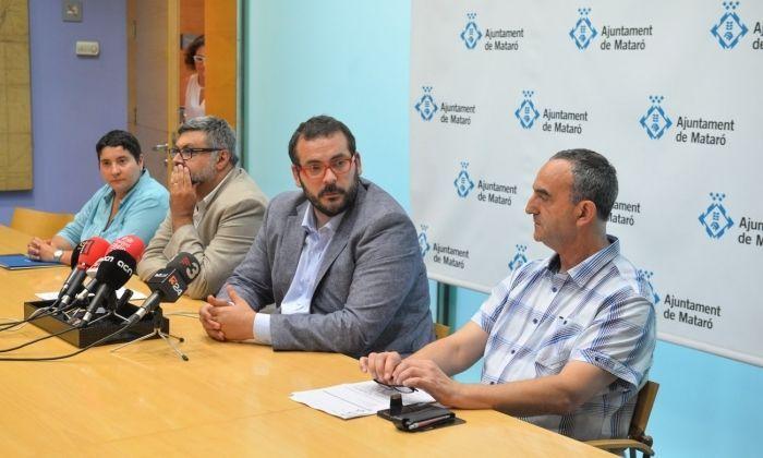 Guillen, Fernàndez, Bote i Jeréz, en roda de premsa per anunciar la cancel·lació de la festa. Foto: R.Gallofré