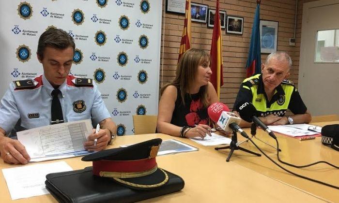 Caballé (cap BP Mossos d'Esquadra), Núria Moreno (Via Pública) i Mateo Sánchez (cap Policia Local).