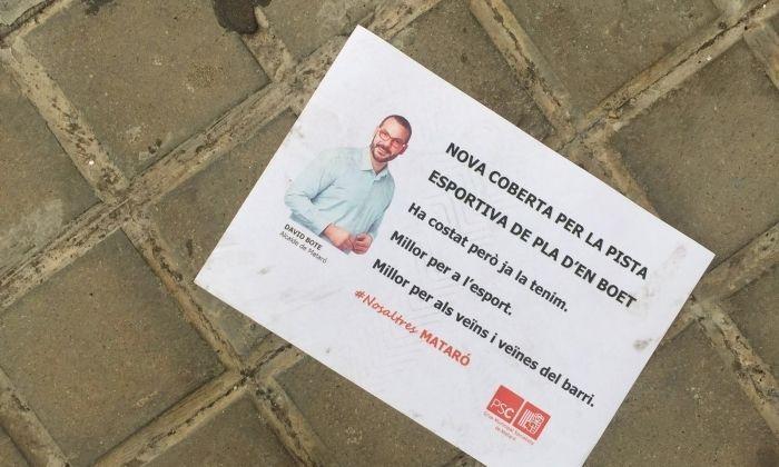 El pamflet que el partit va repartir al Pla d'en Boet
