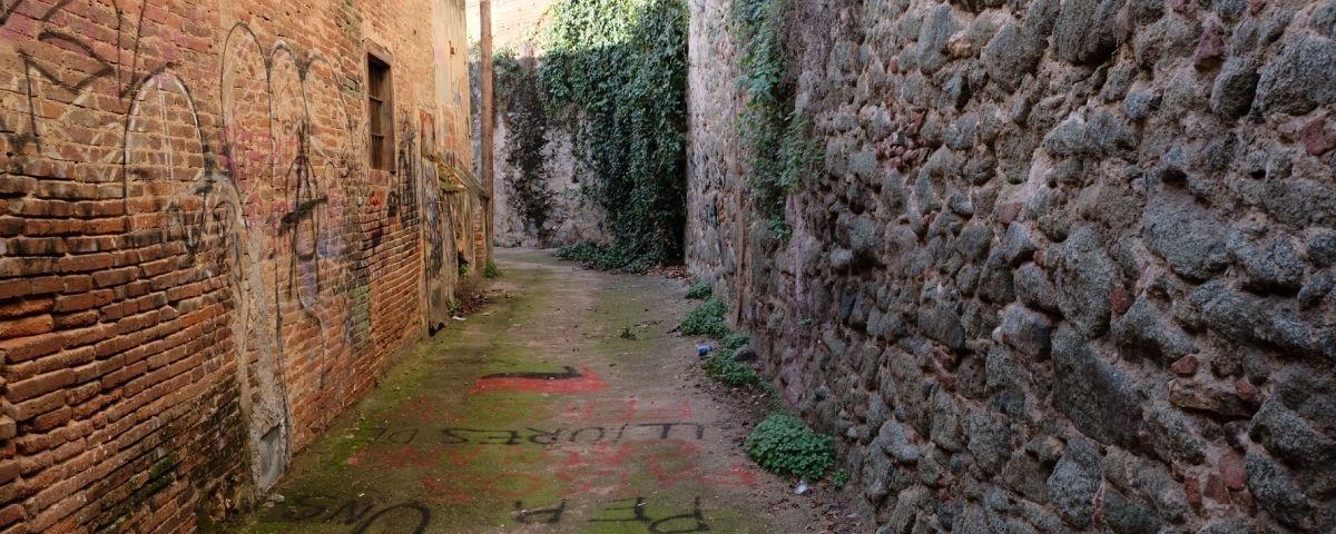 El tram de la muralla, vista des del carreró