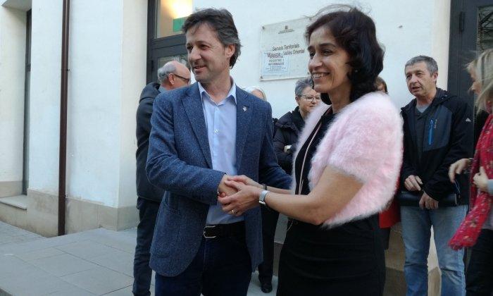 El regidor d'Educació, Miquel Àngel Vadell, i la directora de Serveis Territorials, Carmina Pinya. Foto: V. B.