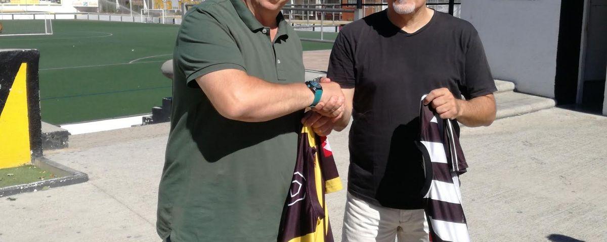 Els presidents Seijo (CE Mataró) i Collado (CF Rocafonda