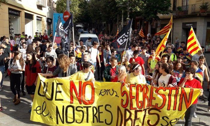 Un moment de la manifestació estudiantil. Foto: Arran
