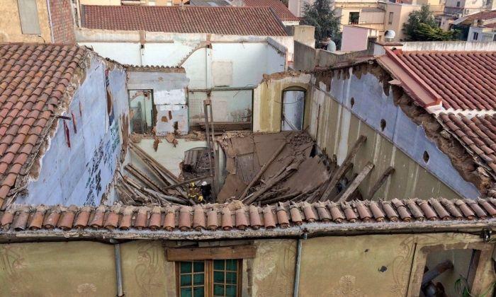 El sostre esfondrat. Foto: Ajuntament de Mataró