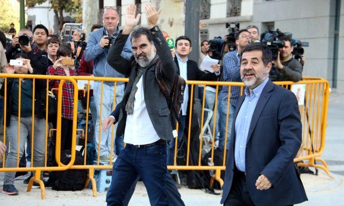 Cuixart i Sànchez, entrant a l'Audiència Nacional. Foto: ACN