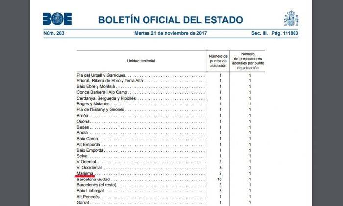 La llista del BOE on apareix 'Marisma'