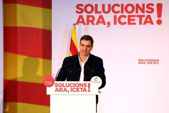 Sánchez a l'acte a Mataró. Foto: ACN.