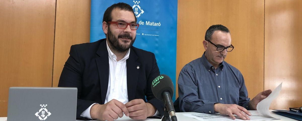 L'alcalde Bote i el regidor Jerez en la roda de premsa posterior a l'aprovació dels pressupostos.