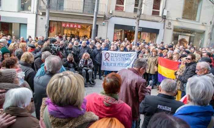 Un instant de la concentració de la Marea Pensionista. Foto: D. Lloveras / Volem
