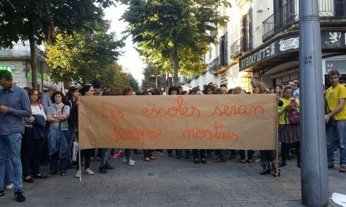 Concentració davant l'Ajuntament, l'octubre del 2017