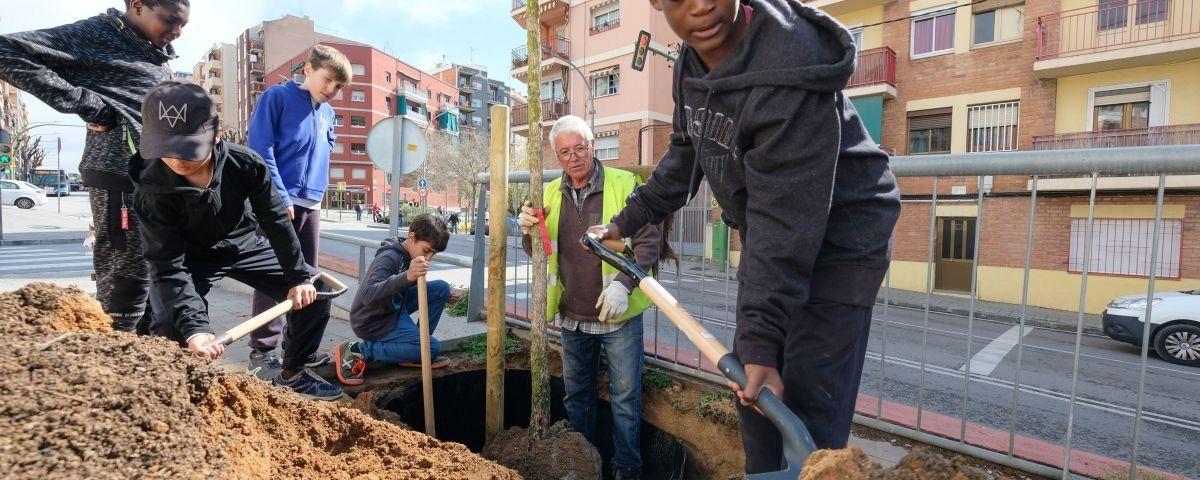 Alumnes de les Cinc Sènies participant a l'activitat de plantar arbres.