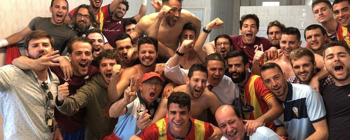 Celebració de l'Argentona al final del partit. Foto: fcargentona