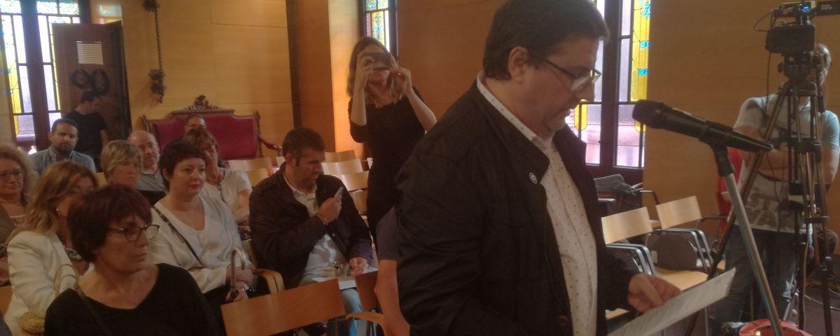 Jordi Novo, intervenint a l'audiència prèvia a l'Ajuntament