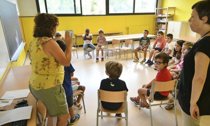 Primer dia d'escola curs 2018-2019 a l'escola Montserrat Solà. Foto: R.Gallofré
