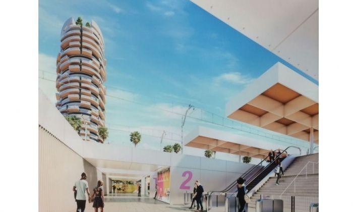 Recreació de la nova estació i l'entrada des de Ronda Barceló.. Imatge: Opalus Arquitectura