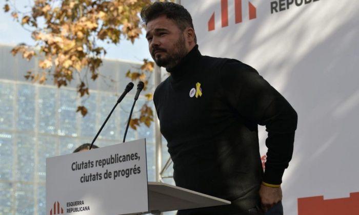 Rufián, en un moment de l'acte. Foto: ERC