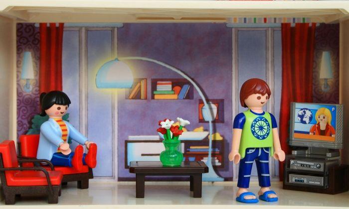 Un diorama amb la popular joguina de playmobil