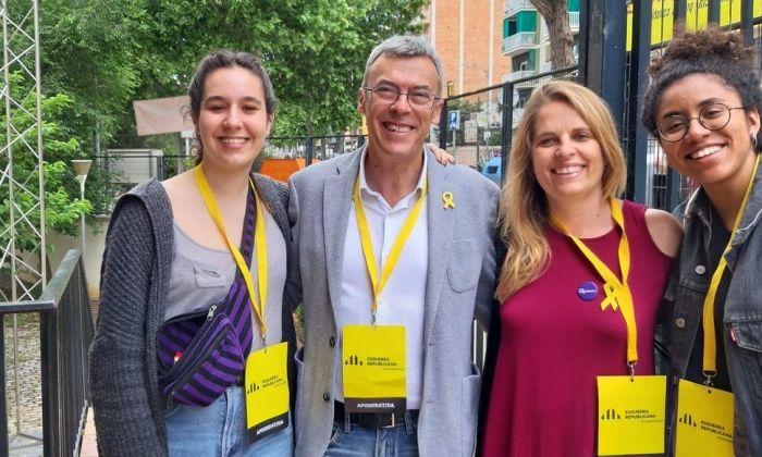 Francesc Teixidó i membres del seu equip, durant la jornada electoral. Foto: ERC