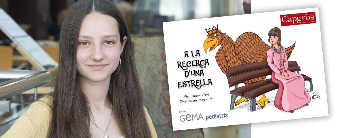 Alba Jubany, autora del conte, i la portada del mateix.