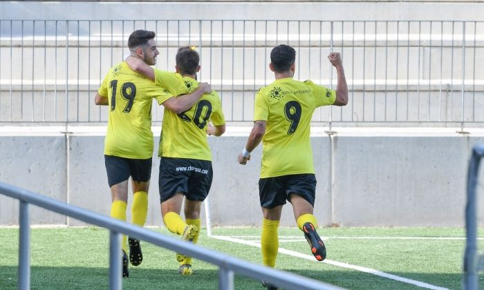 Imatge de la celebració del primer gol. Foto: R.Gallofré