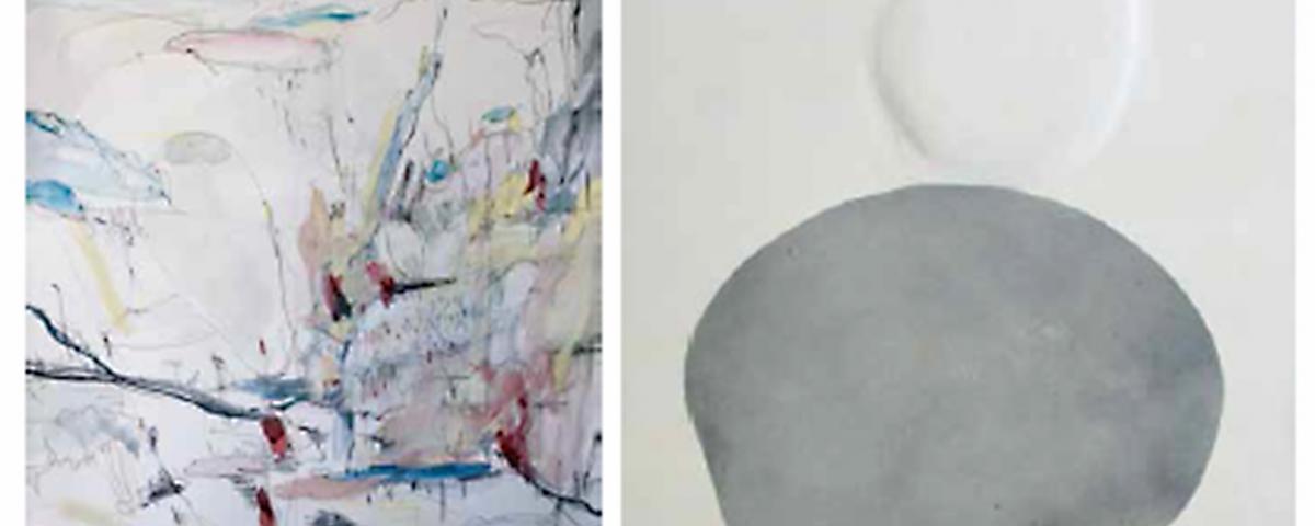 """Dues obres de la mostras """"Quatre Artistes Quatre"""""""