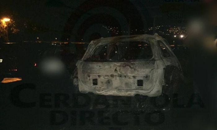 El cotxe incendiat. Foto: Cerdanyola Directo