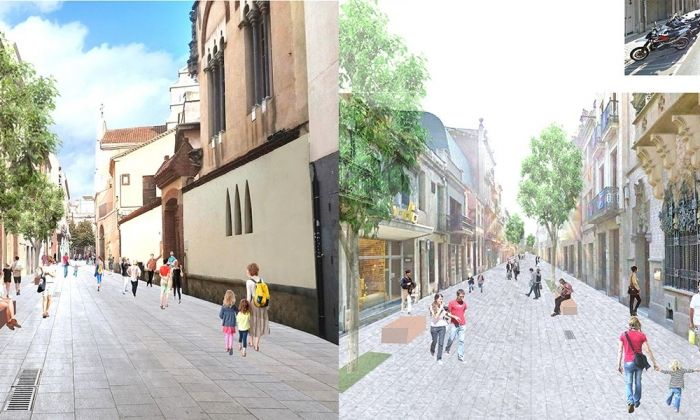 Imatge virtuals dels carrers peatonals del centre de la ciutat.
