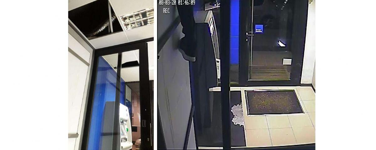L'home havia fet un butró al sostre per accedir a l'entitat bancària. Foto: Mossos