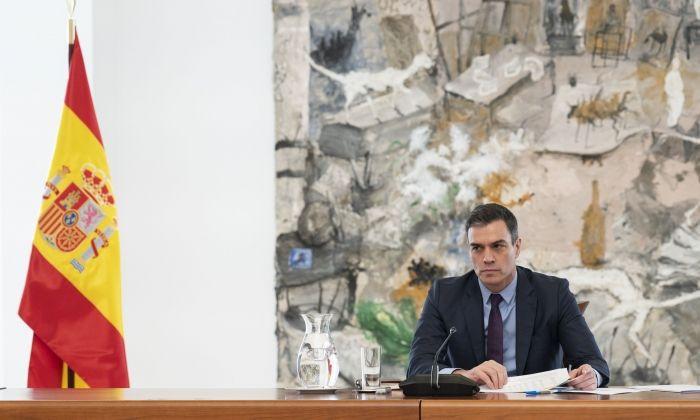 El president espanyol, Pedro Sánchez, en la reunió del comitè científic de seguiment del coronavirus. Foto: ACN