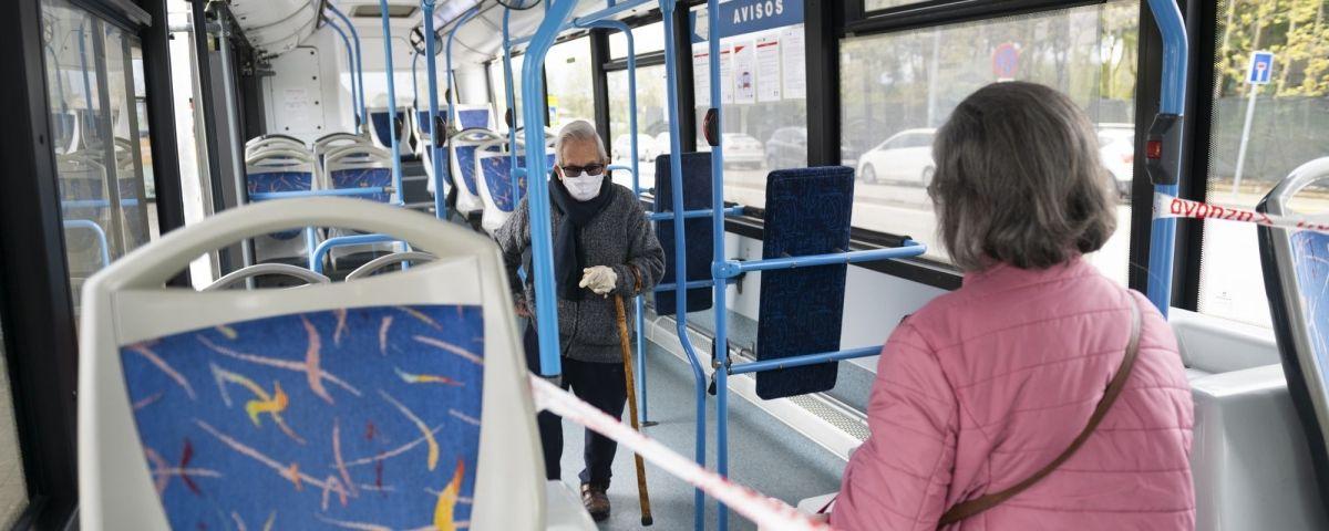 Interior d'un vehicle de Mataró Bus durant l'epidèmia de coronavirus. Foto  R.Gallofré
