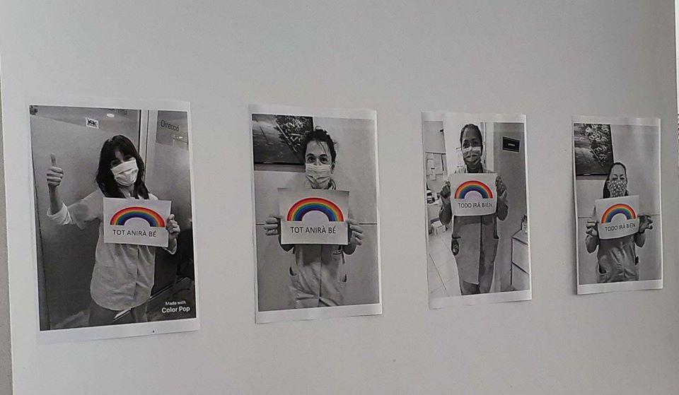 Imatges positives a les parets de la Residència Sant Martí.
