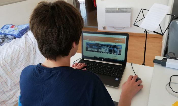 Un estudiant treballant amb Internet des de casa