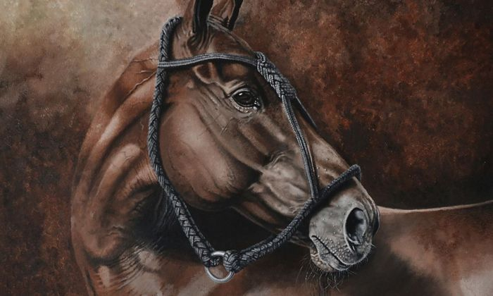 Una de les obres de l'exposició 'Caballos' de Martín Rodríguez Río